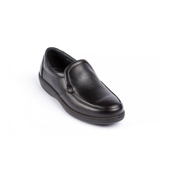 Padders Digger Black Leather Slip On Shoe