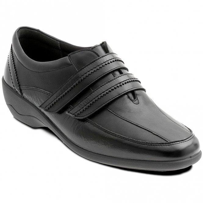 Padders Velvet Black Leather with Patent Velcro Shoe