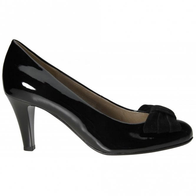 Gabor Tempest 55.211.97 Black Patent Court Shoe with Bow