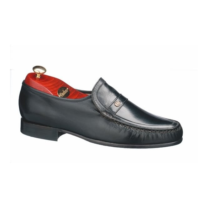 Barker Jefferson Black Leather Moccasin Slip On Shoe