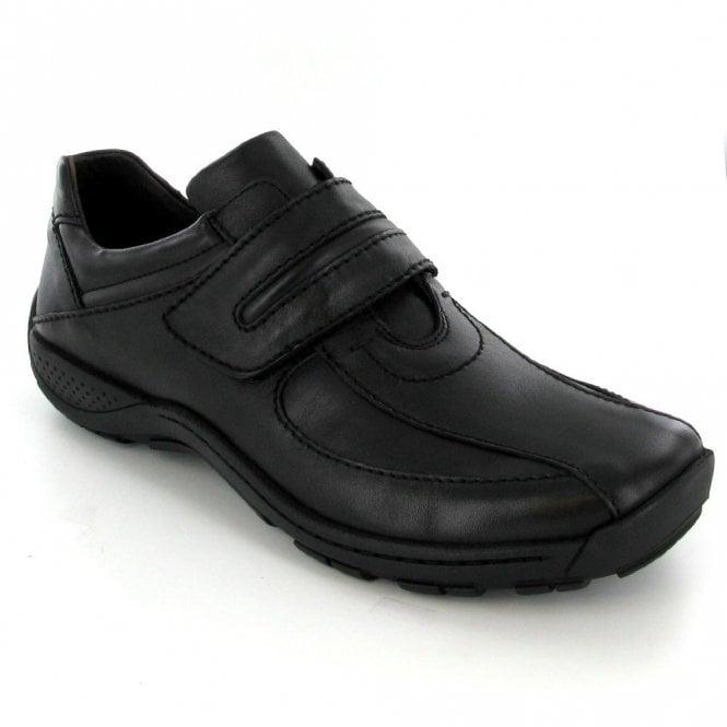 Josef Seibel Arthur Black Leather Velcro Shoe