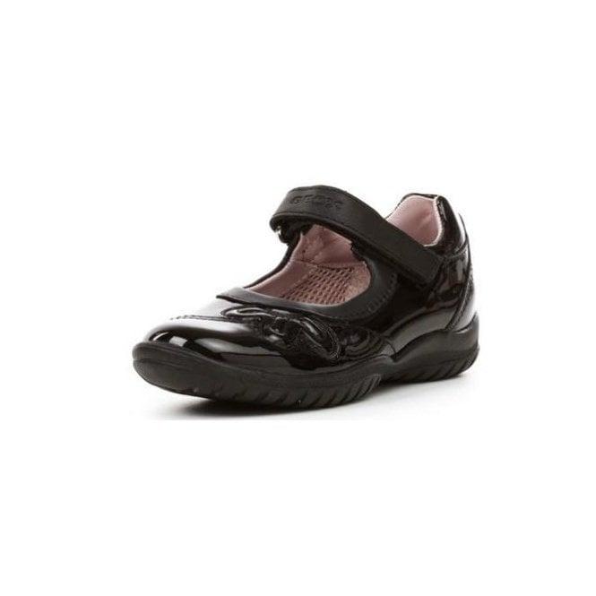 Geox J Shadow B Black Patent Girls Shoe