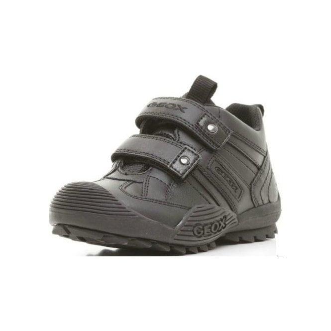 Geox J Savage G Black Leather Boys Shoe