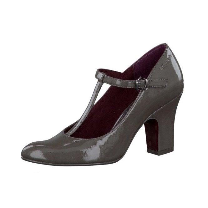Tamaris 24416-29 Grey Patent T Bar Buckle Shoe
