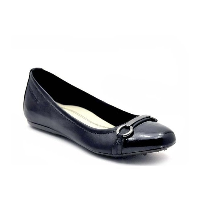 Tamaris 22105-28 Black Leather with Patent Toe Pump