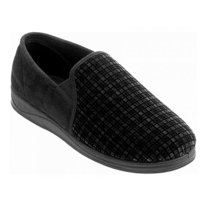 Padders Albert Checked Micro Suede Slipper
