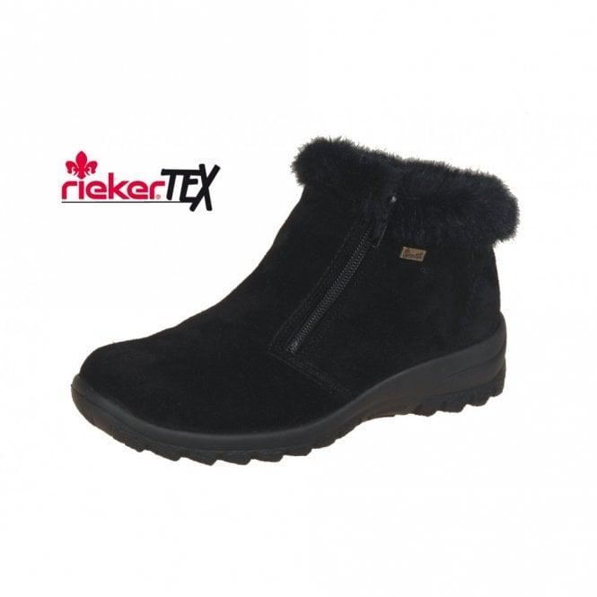 Rieker Eike L7163-00 Black Suede Waterproof Ankle Boot