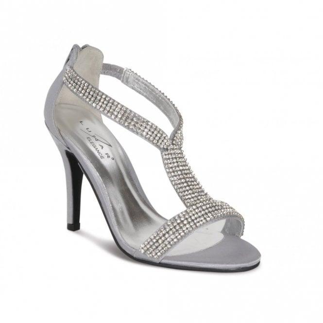 FLV238 Grey/Silver Satin Sandal with Diamante