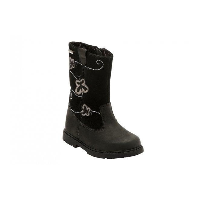 Start-rite Aqua Stomp Black Leather Waterproof Girls Boot