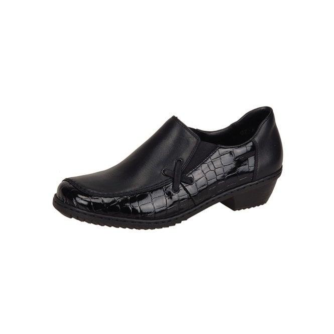 Rieker Mina M1653-00 Black Patent Croc / Leather Shoe