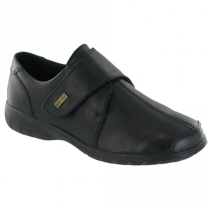Cotswold Cranham Black Leather Ladies Velcro Waterproof Shoe