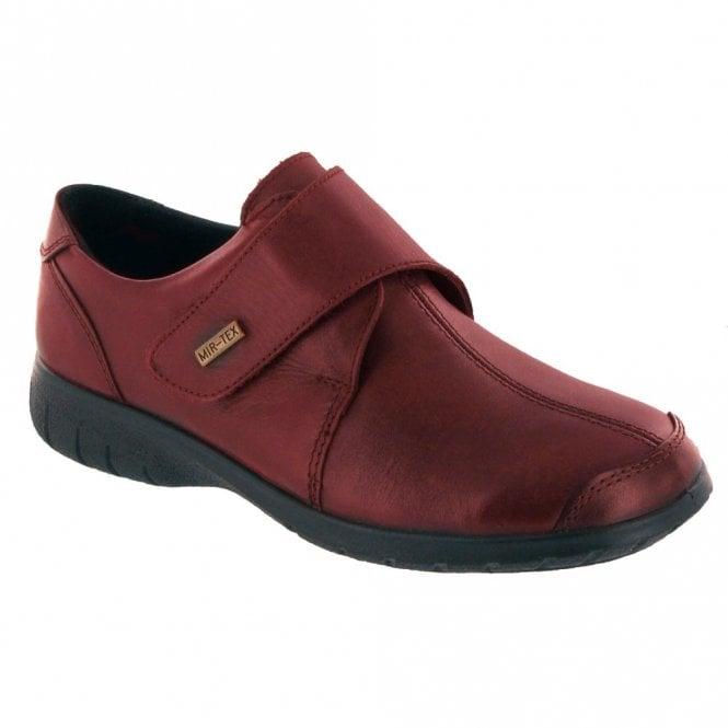 Cotswold Cranham Red Leather Ladies Velcro Waterproof Shoe