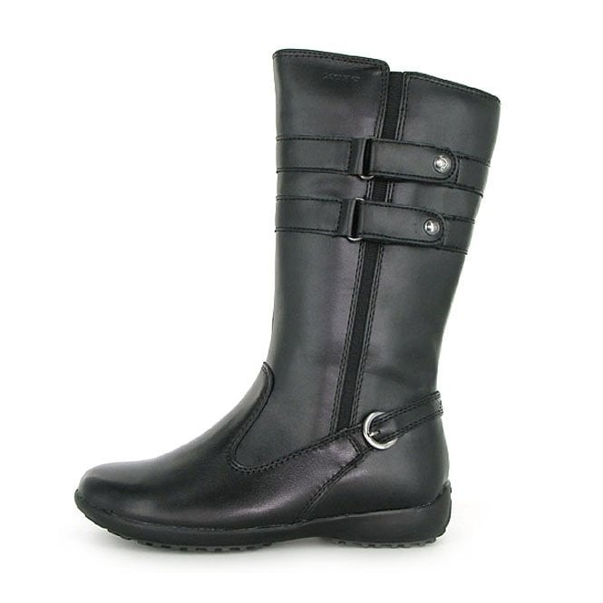 Geox Peggy J13A6S Black Leather Girls Boot