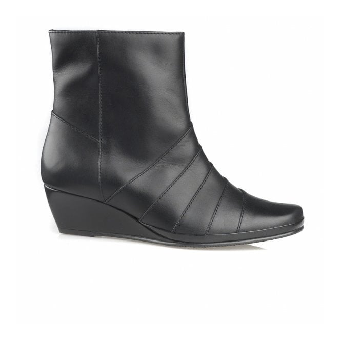 Van Dal Moss Black Leather Wedge Ankle Boot