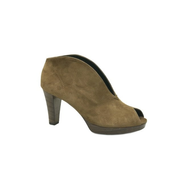 Paul Green 2920-438 Brown Suede Leather Peep Toe Shoe