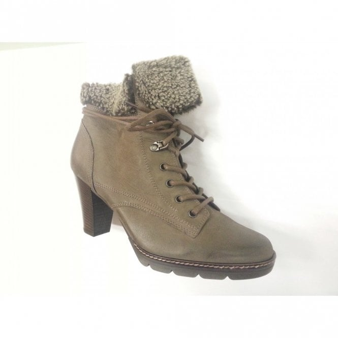 Paul Green 7876-887 Grey Nubuck Leather lace up Boot