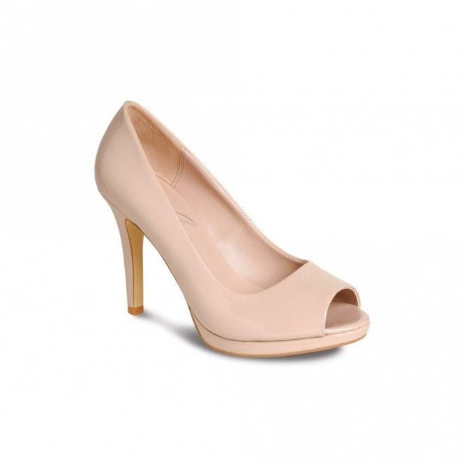 Lunar FLV560 Nude Patent Peep Toe Court Shoe