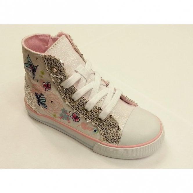 Start-rite Como Girl's White Canvas Shoe Boot