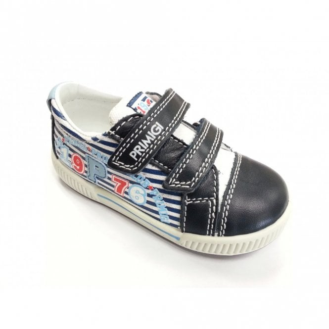 Primigi Gabry Navy and White Leather Boys Velcro Shoe