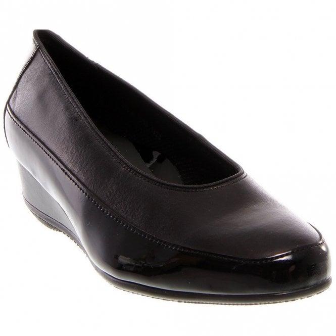 Ara 45030-16 Black Patent Wedge Shoe