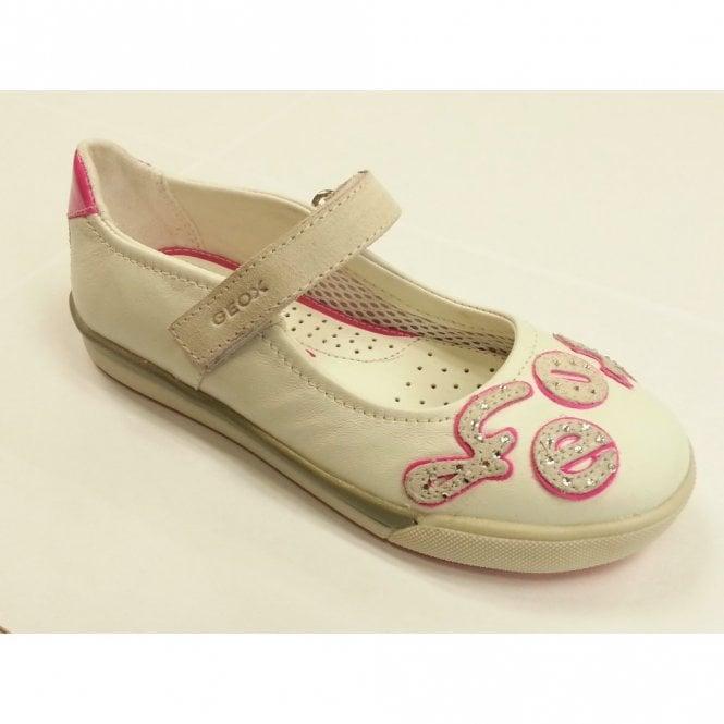 Geox J Carnival B White Leather Girls Shoe