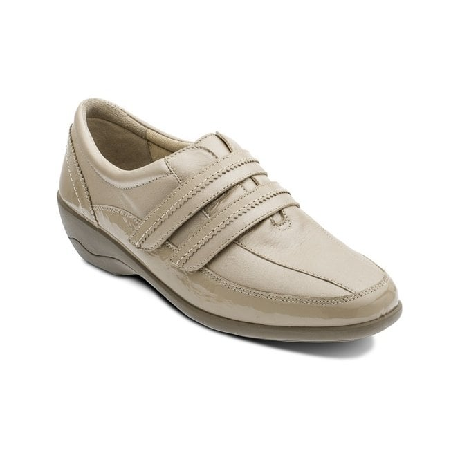 Padders Velvet Taupe Biscuit Leather with Patent Velcro Shoe