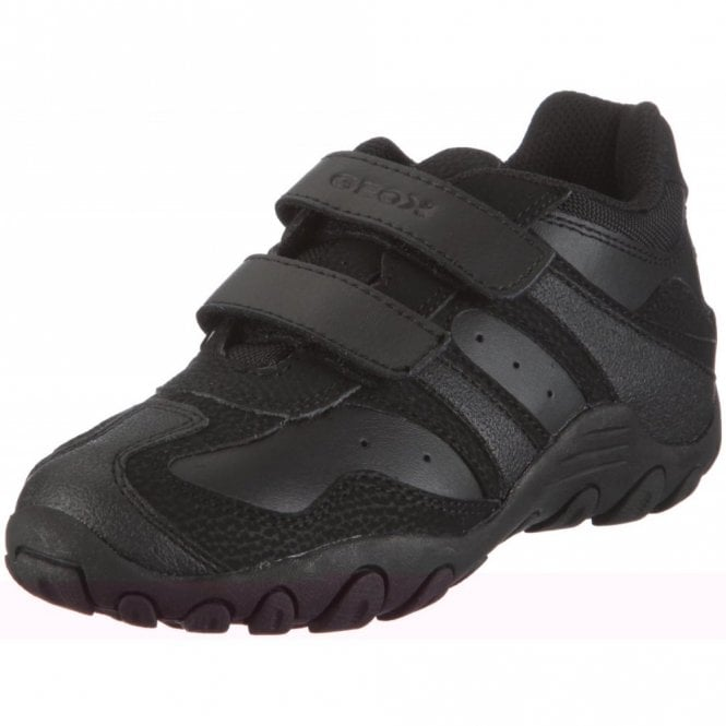 Geox J Crush M Black Leather Boys Shoe