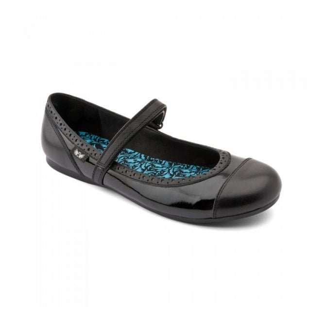 Angry Angels Totally Black Patent Velcro Shoe