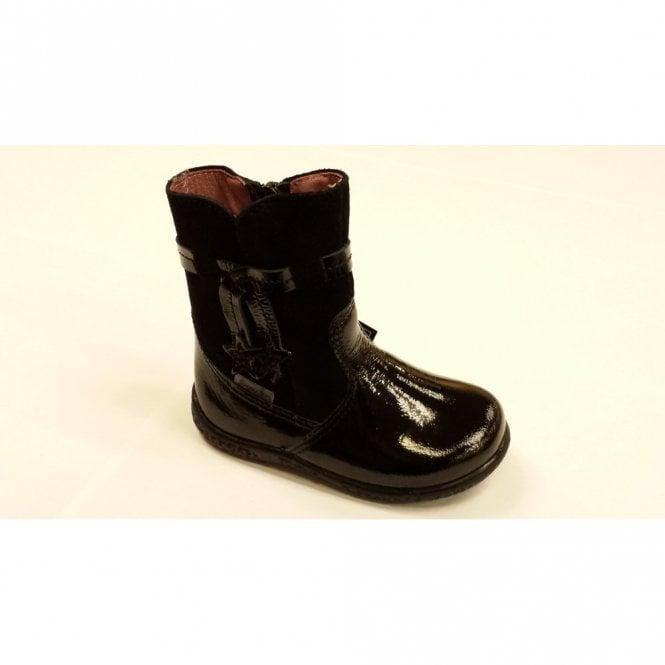 Sanji 22281-093 Black Patent Waterproof Girls Boot
