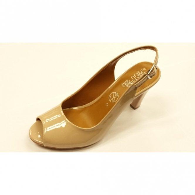 Jenny 52102-13 Nude Patent Peep Toe Sling Back Shoe