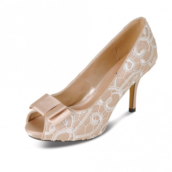 Lunar FLR213 Beige Satin Swirl Lace Peep Toe Court Shoe with Bow Trim