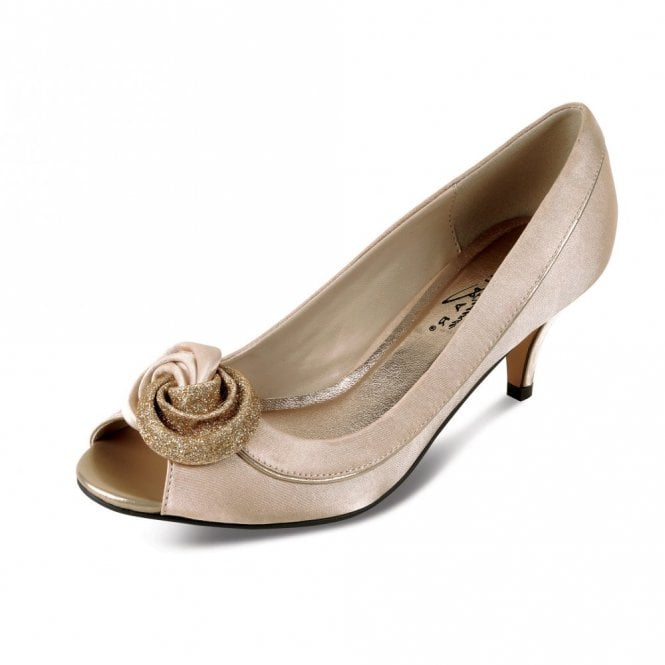 Lunar Ripley FLR222 Champagne Satin Lower Heeled Peep Toe Court Shoe