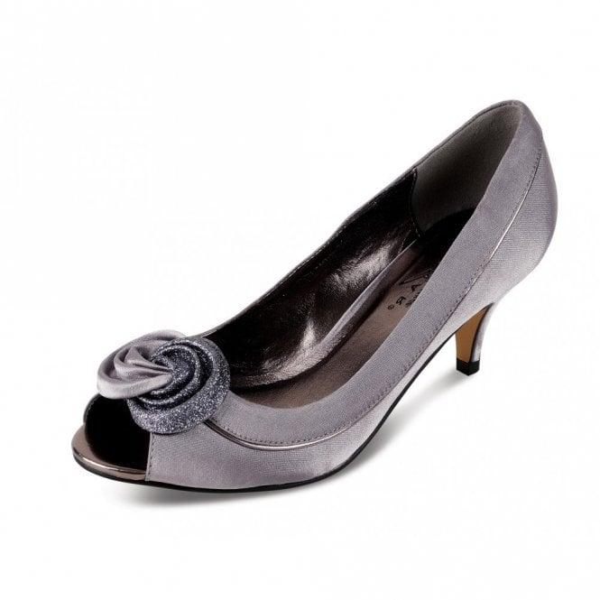 Lunar Ripley FLR222 Grey Satin Lower Heeled Peep Toe Court Shoe