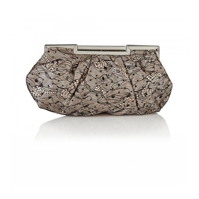 Lotus Magena Black & Nude Satin Clutch Bag