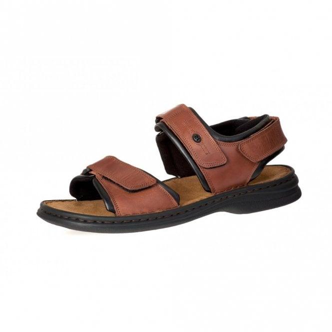 Josef Seibel Rafe Choco Brown Leather Mens Velcro Sandal
