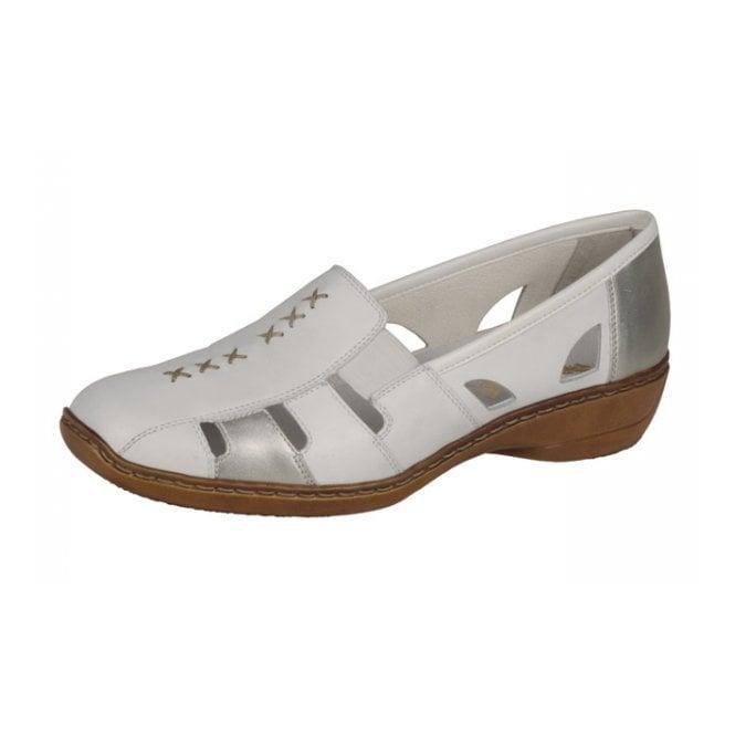 Rieker Doris 41385-82 White / Silver Leather Shoe