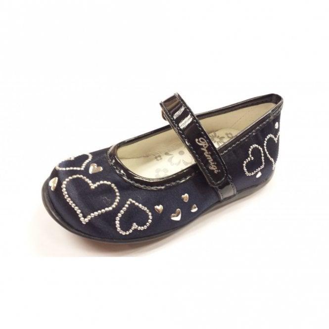 Primigi Elda 1 Navy Satin Girl's Velcro Shoe