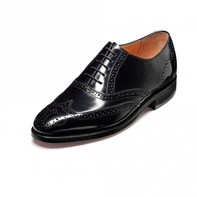 Barker Albert Black Hi-Shine Leather Lace Up Brogue Shoe