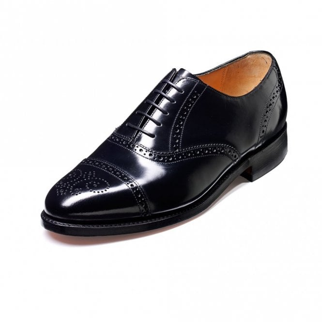 Barker Alfred Black Hi-Shine Leather Lace Up Brogue Shoe
