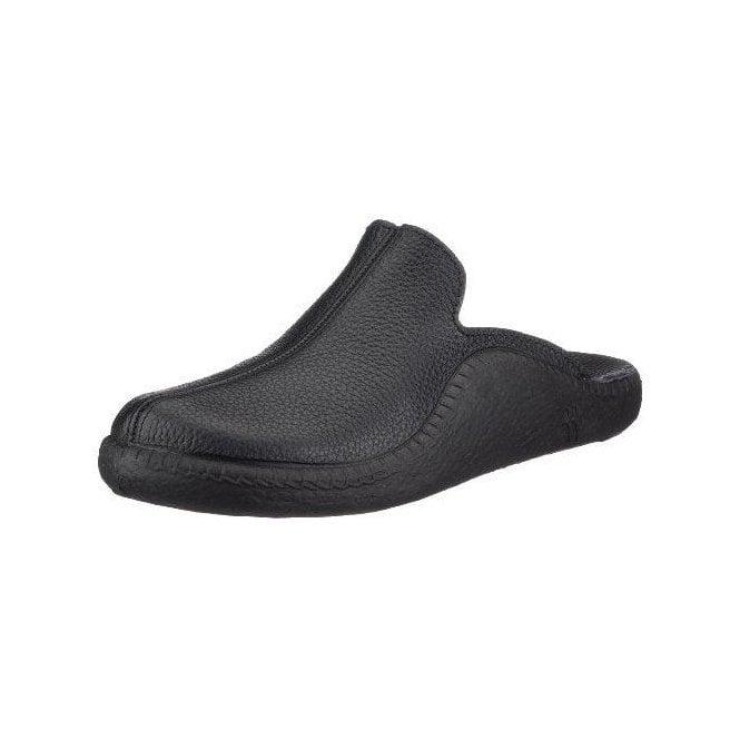 Romika Mokasso 202 Black Leather Mens Slipper
