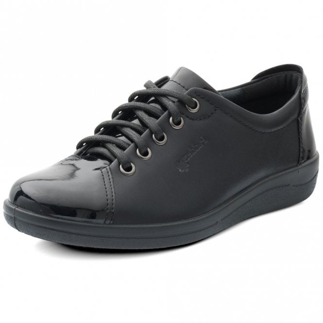 Padders Galaxy Black Leather with Patent Toe Shoe