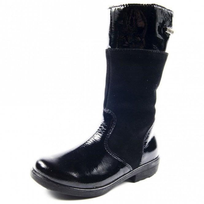 Ricosta Hannah 77238-093 Black Patent Waterproof Girls Boot