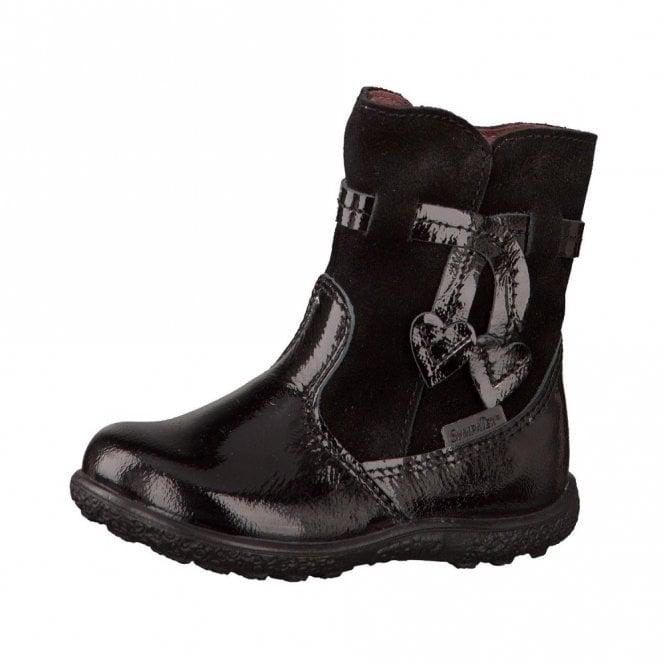 Ricosta Sanji 2228100-095 Black Patent Waterproof Girls Boot