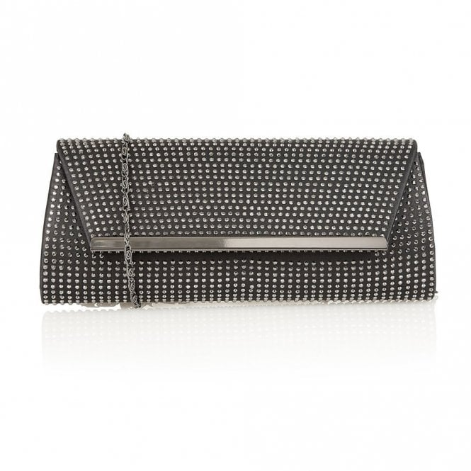 Lotus Becky Black Satin & Diamante Clutch Bag