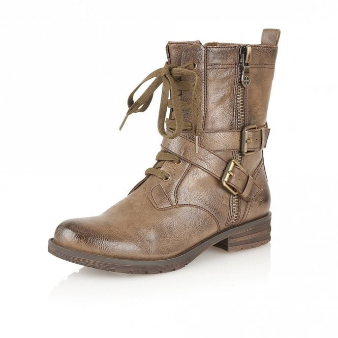 Naturalizer Bravery Taupe Smooth Lace-Up Calf-Length Boots