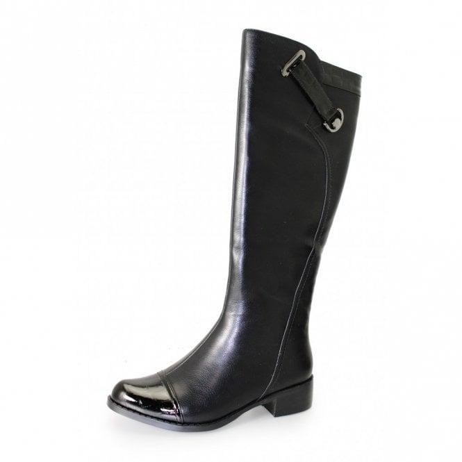 Lunar Josie GLC433 Black Patent Croc / Synthetic Leather Ladies Boot