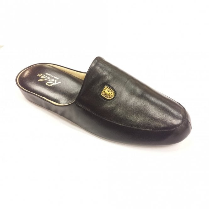 Relax Williams Black Leather Mens Slipper