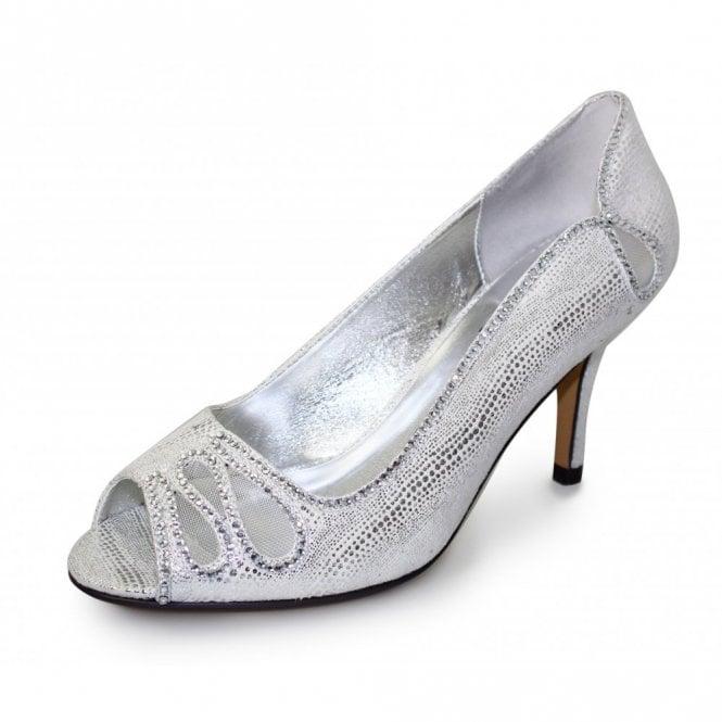 Lunar Rene FLR237 Silver Print Shoe with Diamante