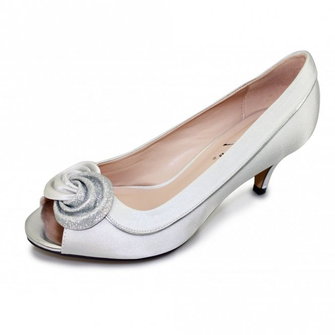 Lunar FLR222 Silver Satin Lower Heeled Peep Toe Court Shoe