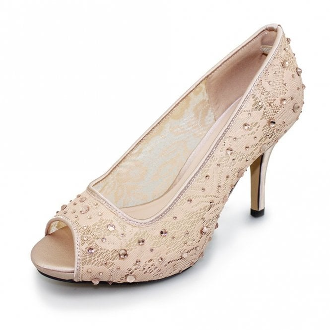Lunar Rio FLR272 Nude Mesh Peep Toe Court Shoe with Diamontes